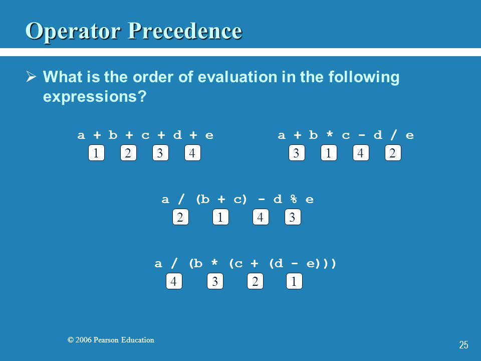 © 2006 Pearson Education 25 Operator Precedence What is the order of evaluation in the following expressions? a + b + c + d + e 1432 a + b * c - d / e