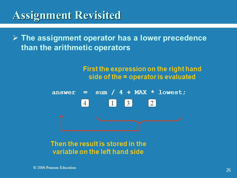 © 2006 Pearson Education 26 Assignment Revisited The assignment operator has a lower precedence than the arithmetic operators First the expression on