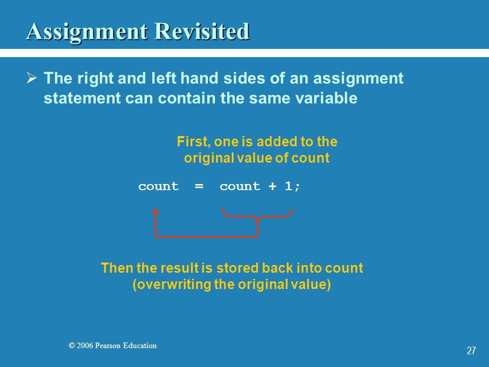 © 2006 Pearson Education 27 Assignment Revisited The right and left hand sides of an assignment statement can contain the same variable First, one is