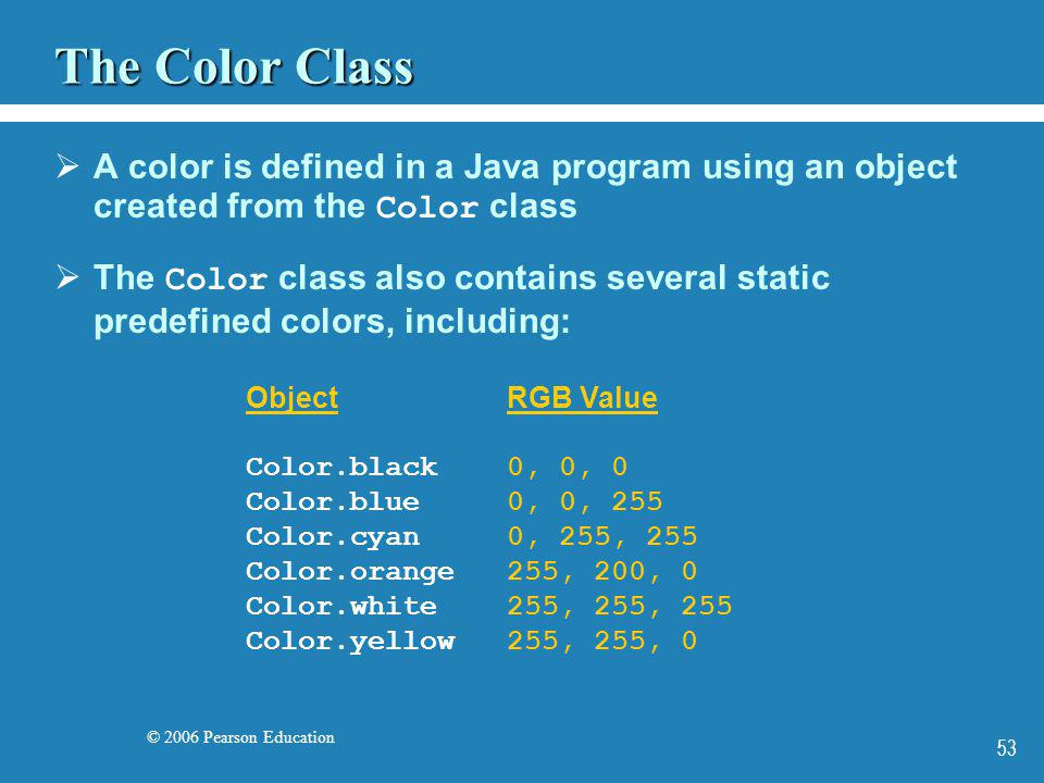 © 2006 Pearson Education 53 The Color Class A color is defined in a Java program using an object created from the Color class The Color class also con