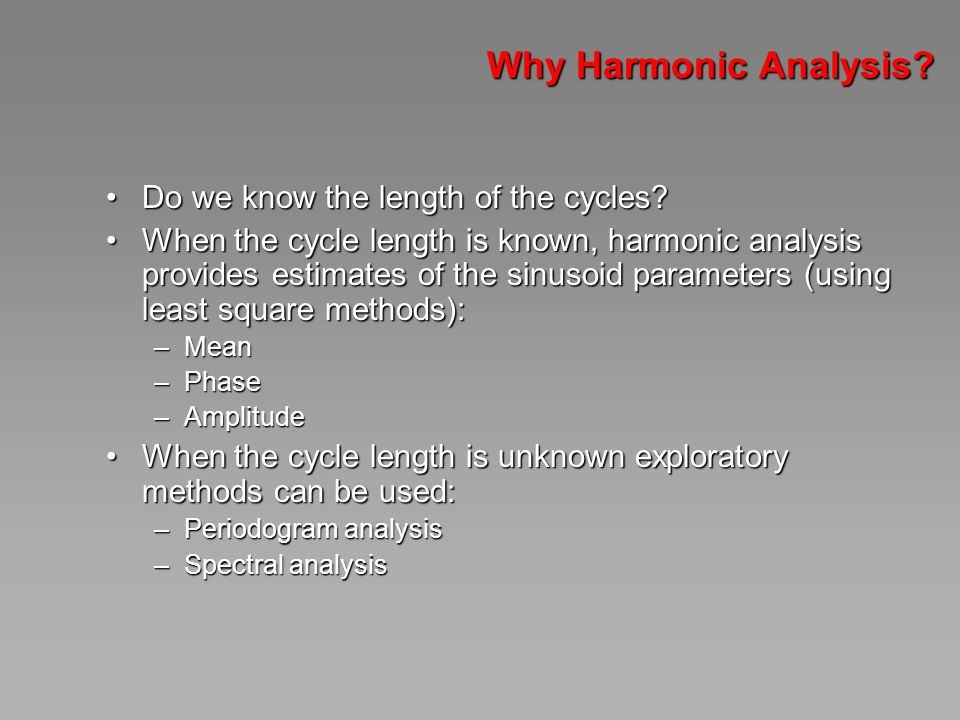 Why Harmonic Analysis. Do we know the length of the cycles Do we know the length of the cycles.