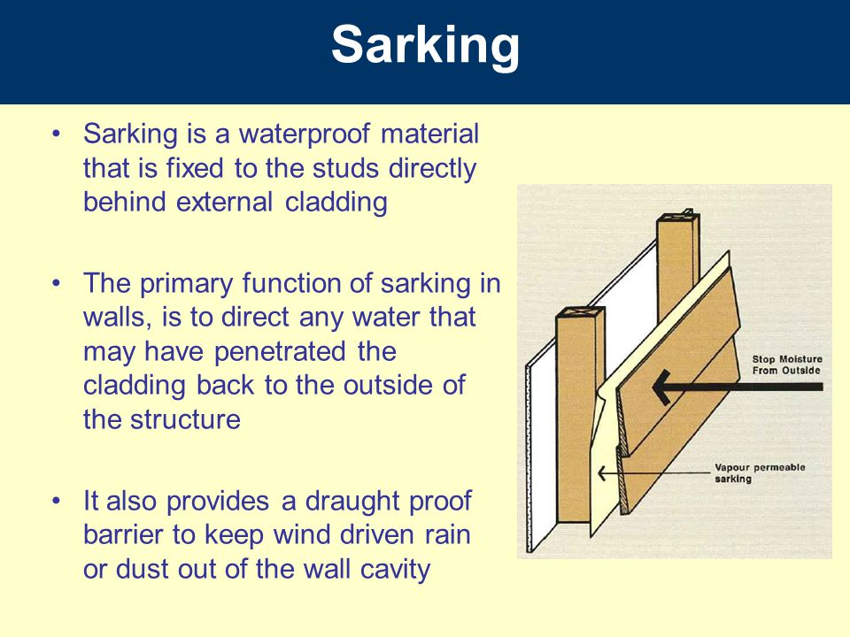 Sarking Sarking is a waterproof material that is fixed to the studs directly behind external cladding The primary function of sarking in walls, is to