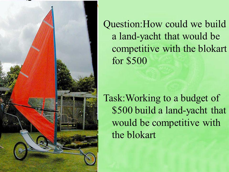 Question:How could we build a land-yacht that would be competitive with the blokart for $500 Task:Working to a budget of $500 build a land-yacht that would be competitive with the blokart