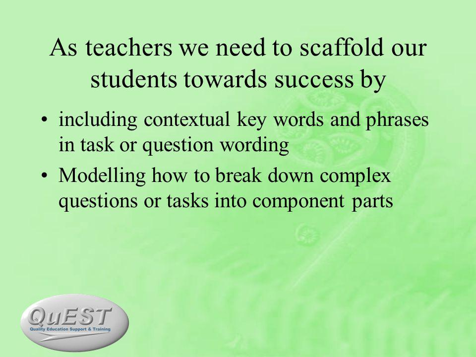As teachers we need to scaffold our students towards success by including contextual key words and phrases in task or question wording Modelling how to break down complex questions or tasks into component parts