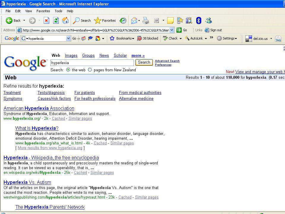 Internet searching What is Hyperlexia?