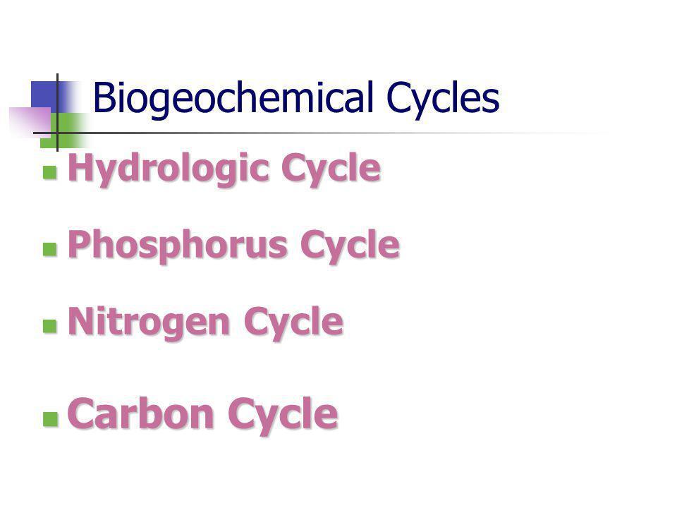 Biogeochemical Cycles Hydrologic Cycle Hydrologic Cycle Phosphorus Cycle Phosphorus Cycle Nitrogen Cycle Nitrogen Cycle Carbon Cycle Carbon Cycle