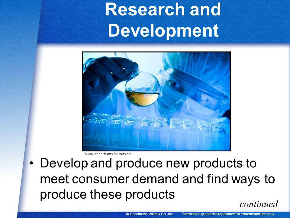 Permission granted to reproduce for educational use only.© Goodheart-Willcox Co., Inc. Research and Development Develop and produce new products to me