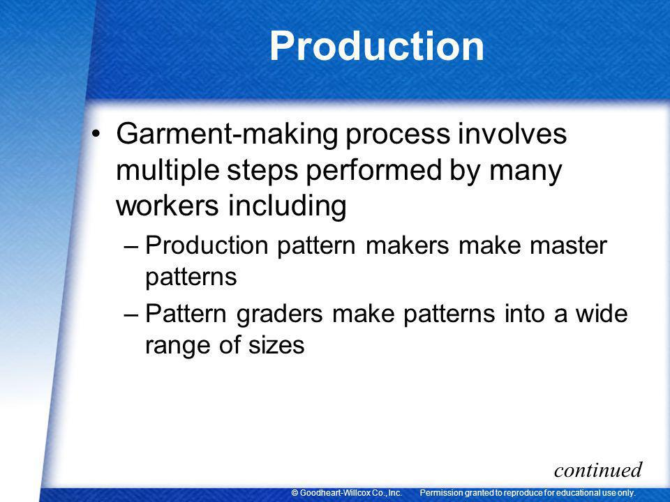 Permission granted to reproduce for educational use only.© Goodheart-Willcox Co., Inc. Production Garment-making process involves multiple steps perfo