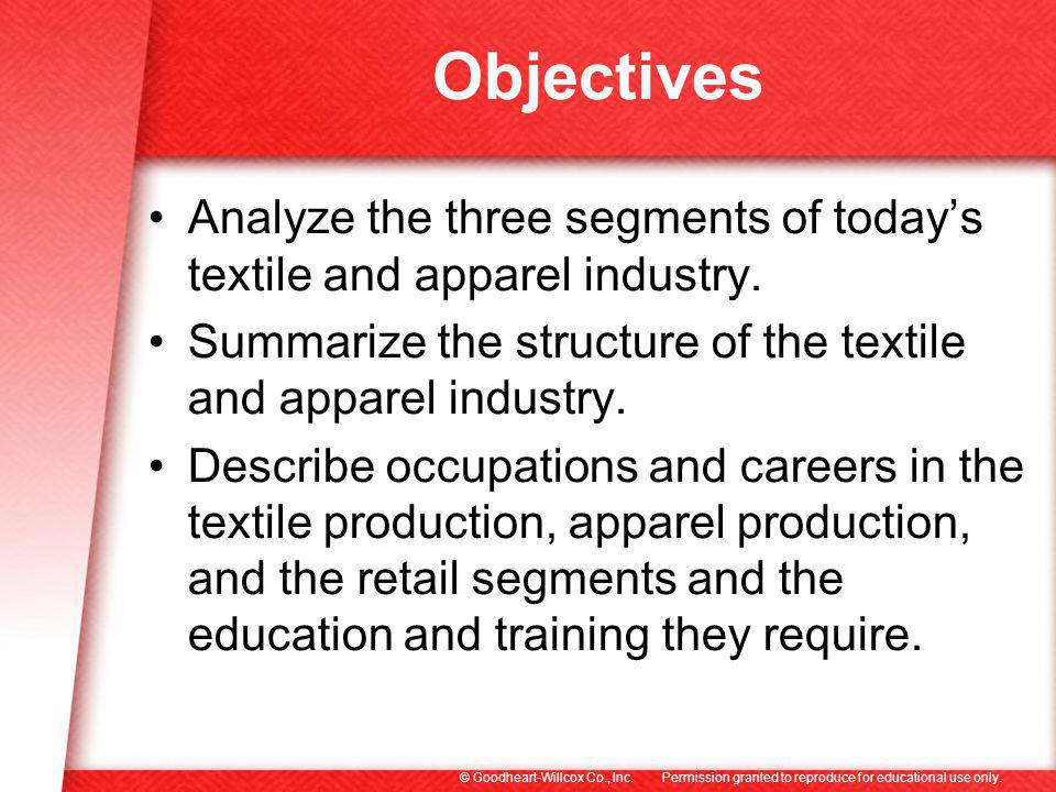 Permission granted to reproduce for educational use only.© Goodheart-Willcox Co., Inc. Objectives Analyze the three segments of todays textile and app