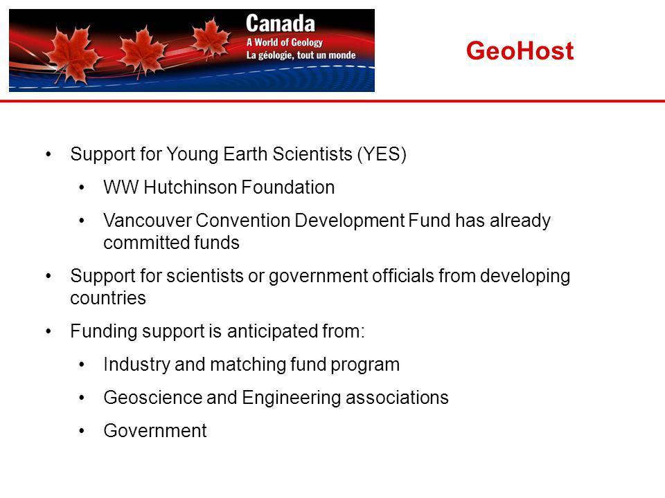 Support for Young Earth Scientists (YES) WW Hutchinson Foundation Vancouver Convention Development Fund has already committed funds Support for scientists or government officials from developing countries Funding support is anticipated from: Industry and matching fund program Geoscience and Engineering associations Government GeoHost