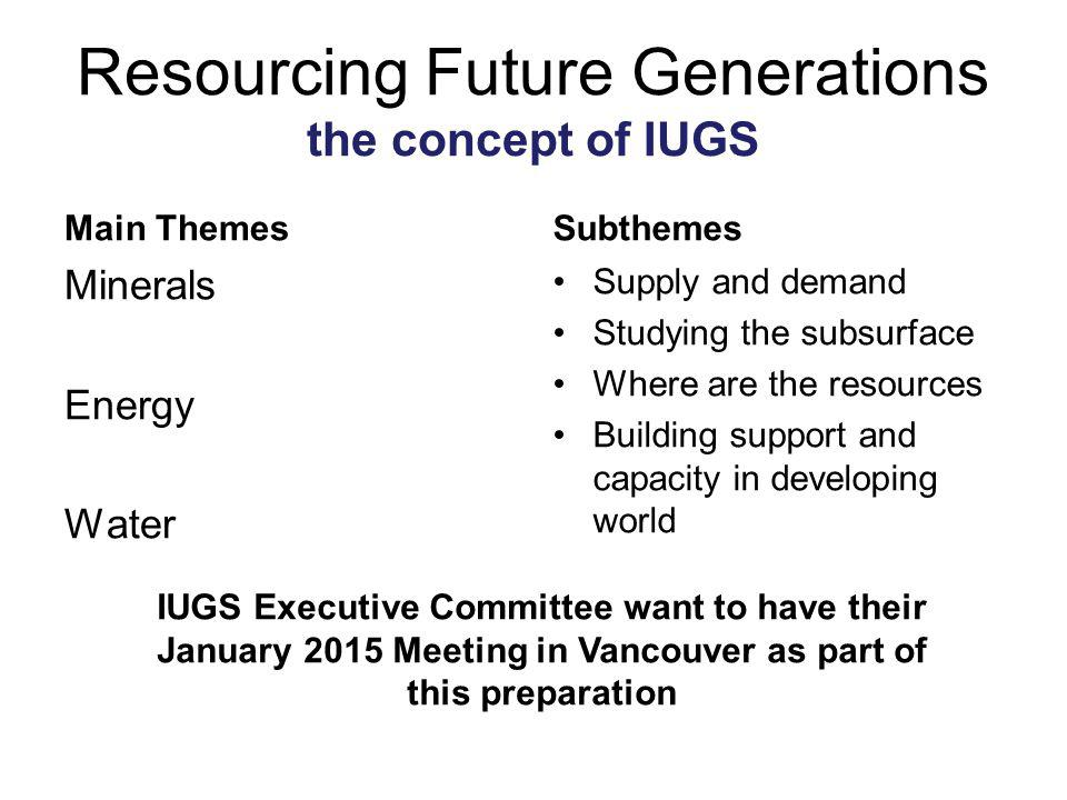 Resourcing Future Generations the concept of IUGS Main Themes Minerals Energy Water Subthemes Supply and demand Studying the subsurface Where are the resources Building support and capacity in developing world IUGS Executive Committee want to have their January 2015 Meeting in Vancouver as part of this preparation