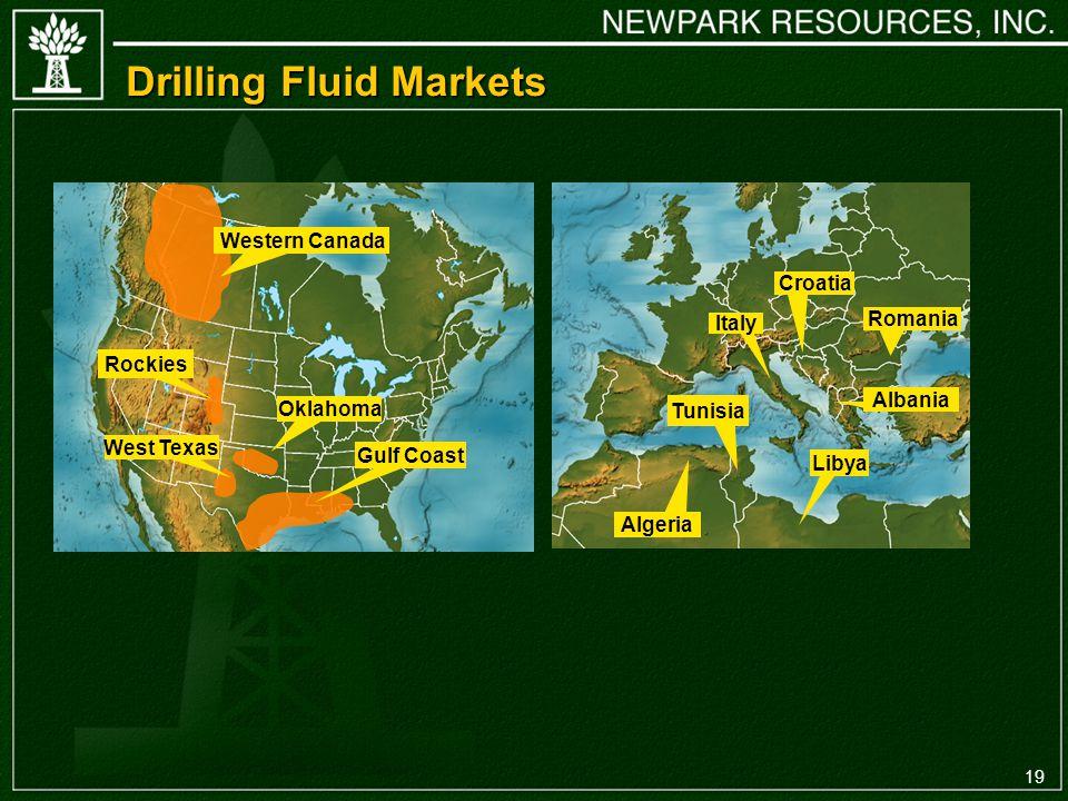19 Western Canada Gulf Coast Rockies West Texas Oklahoma Drilling Fluid Markets Albania Italy Tunisia Algeria Libya Romania Croatia