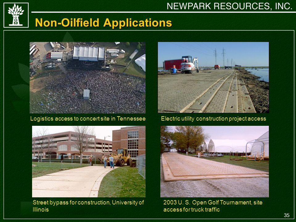 35 Non-Oilfield Applications Logistics access to concert site in Tennessee 2003 U.