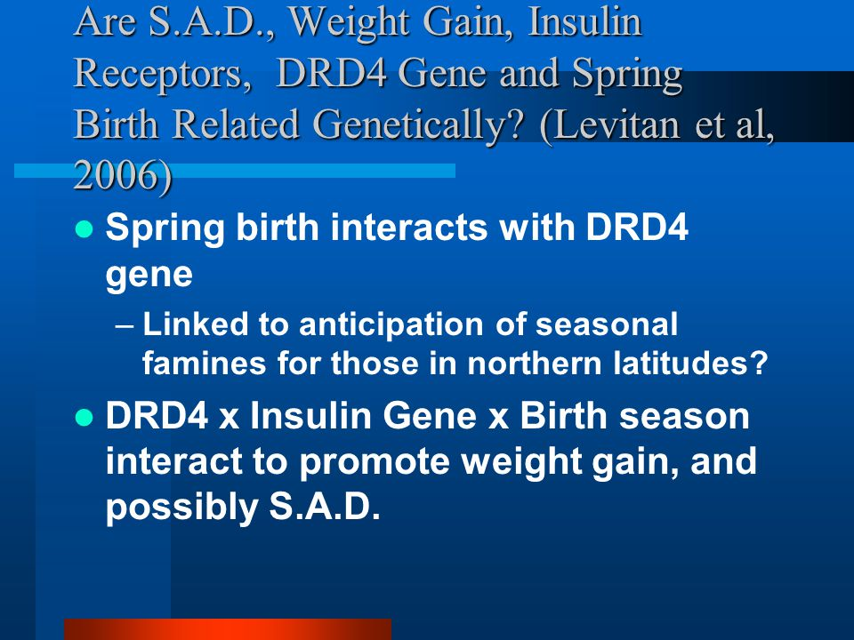Are S.A.D., Weight Gain, Insulin Receptors, DRD4 Gene and Spring Birth Related Genetically.