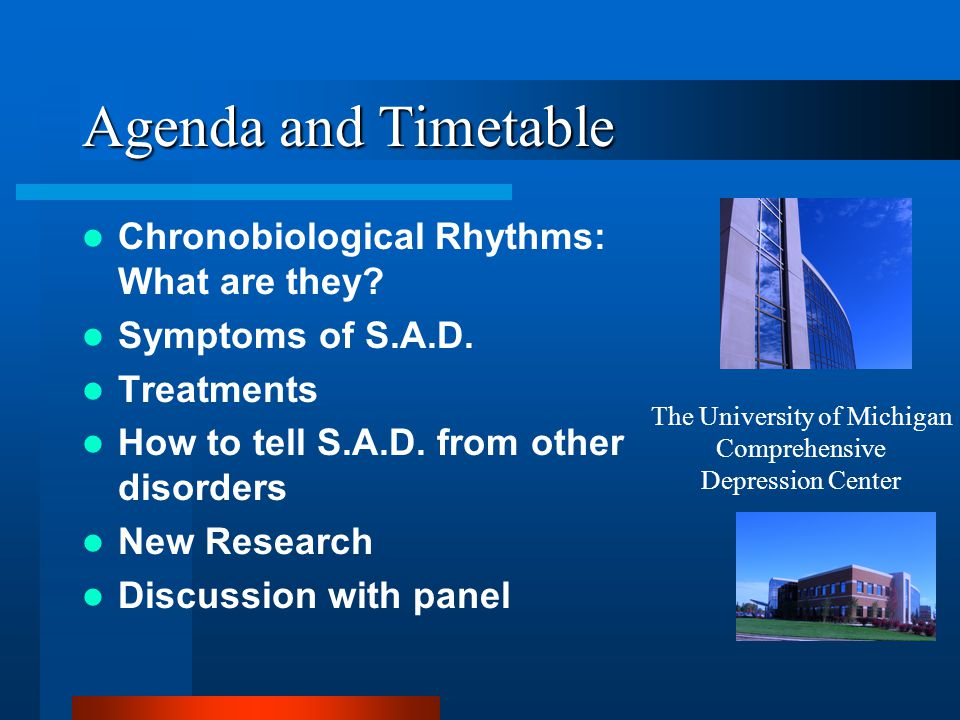 Agenda and Timetable Chronobiological Rhythms: What are they? Symptoms of S.A.D. Treatments How to tell S.A.D. from other disorders New Research Discu