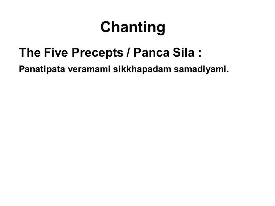 Chanting The Five Precepts / Panca Sila : Panatipata veramami sikkhapadam samadiyami. I undertake the training rule to abstain from taking life. Adinn