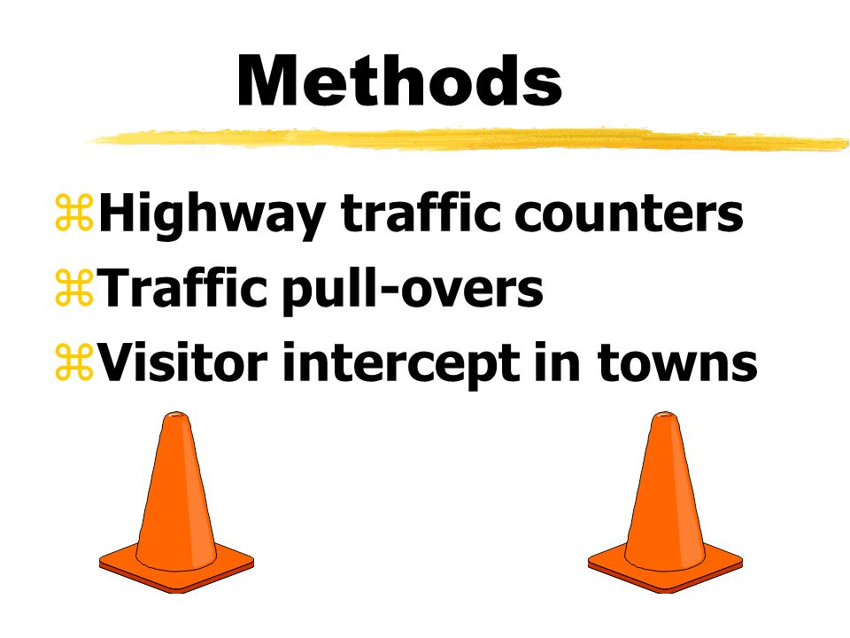 Methods zHighway traffic counters zTraffic pull-overs zVisitor intercept in towns