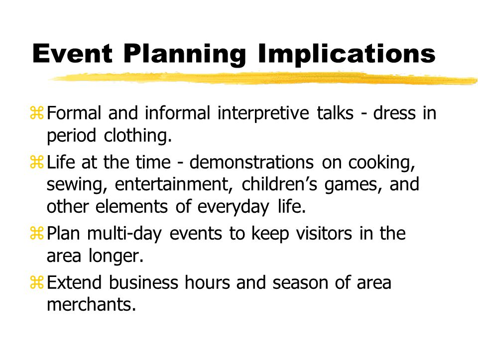 Event Planning Implications zFormal and informal interpretive talks - dress in period clothing.