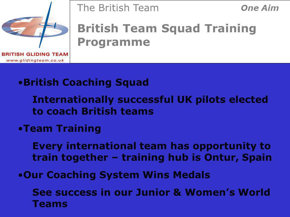 British Team Squad Training Programme The British Team One Aim British Coaching Squad Internationally successful UK pilots elected to coach British teams Team Training Every international team has opportunity to train together – training hub is Ontur, Spain Our Coaching System Wins Medals See success in our Junior & Womens World Teams
