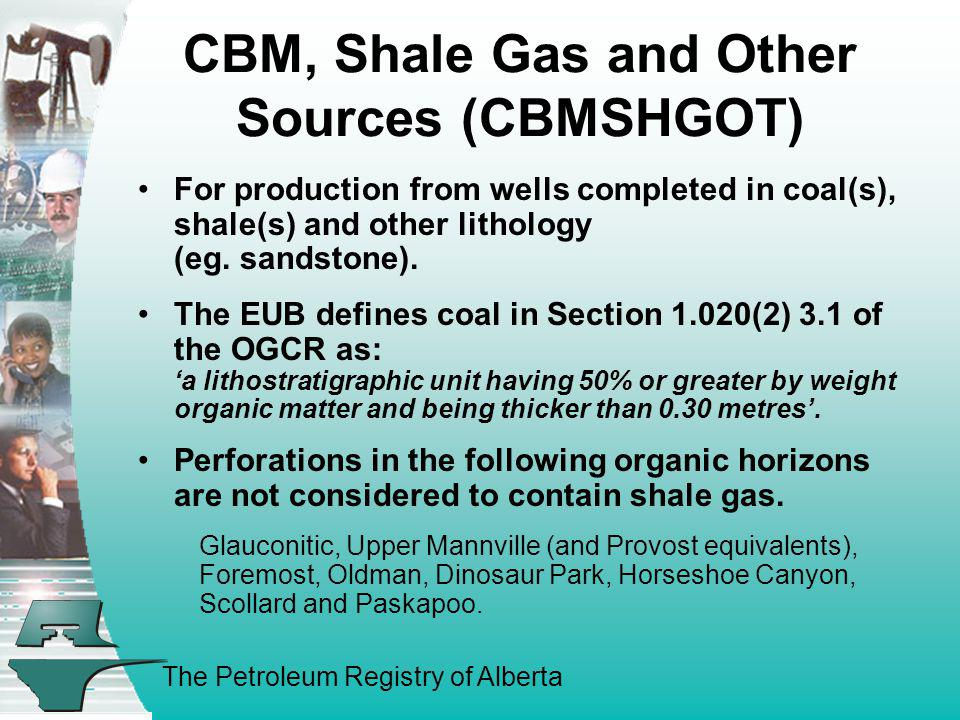 The Petroleum Registry of Alberta CBM, Shale Gas and Other Sources (CBMSHGOT) For production from wells completed in coal(s), shale(s) and other litho