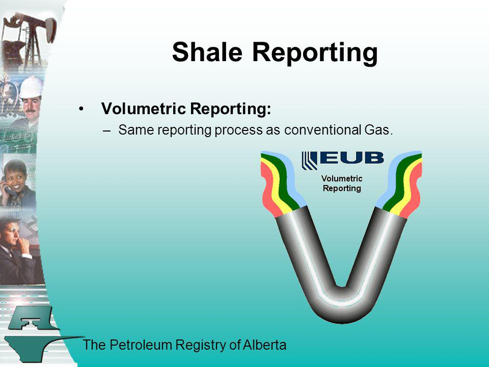 The Petroleum Registry of Alberta Shale Reporting Volumetric Reporting: –Same reporting process as conventional Gas.