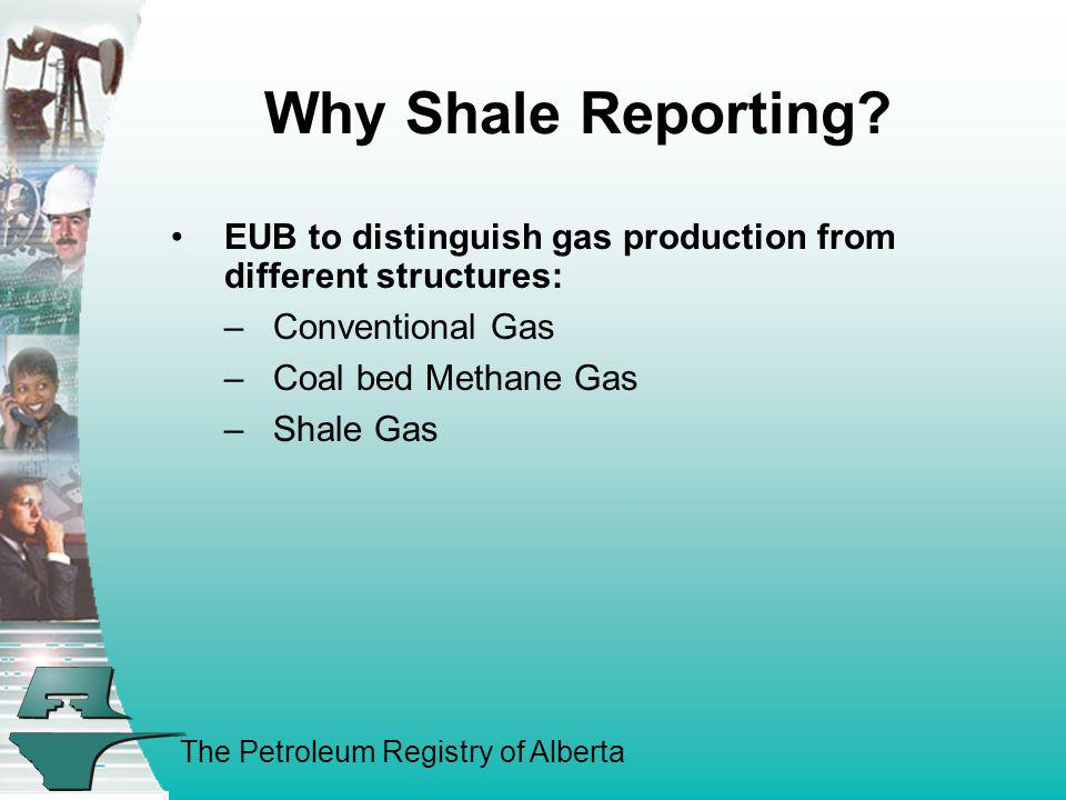 The Petroleum Registry of Alberta Why Shale Reporting? EUB to distinguish gas production from different structures: –Conventional Gas –Coal bed Methan