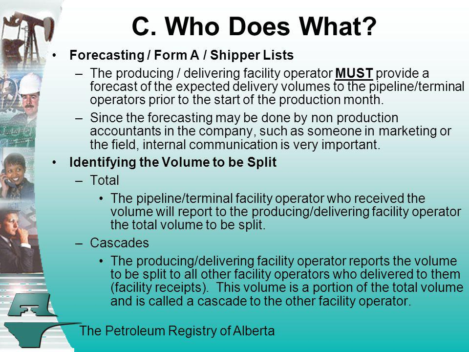The Petroleum Registry of Alberta C. Who Does What? Forecasting / Form A / Shipper Lists –The producing / delivering facility operator MUST provide a