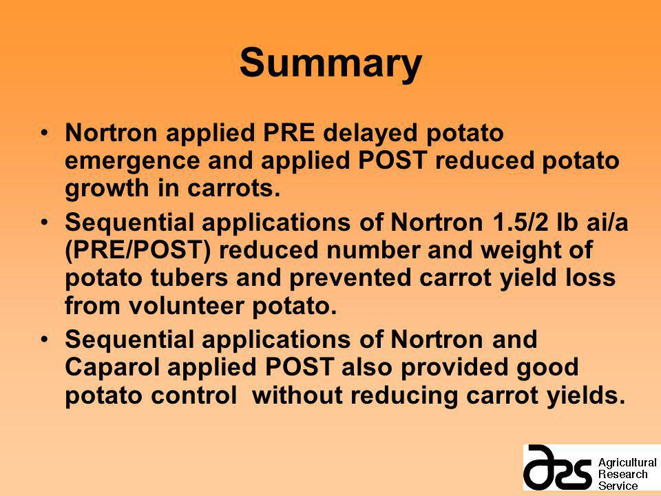Summary Nortron applied PRE delayed potato emergence and applied POST reduced potato growth in carrots. Sequential applications of Nortron 1.5/2 lb ai