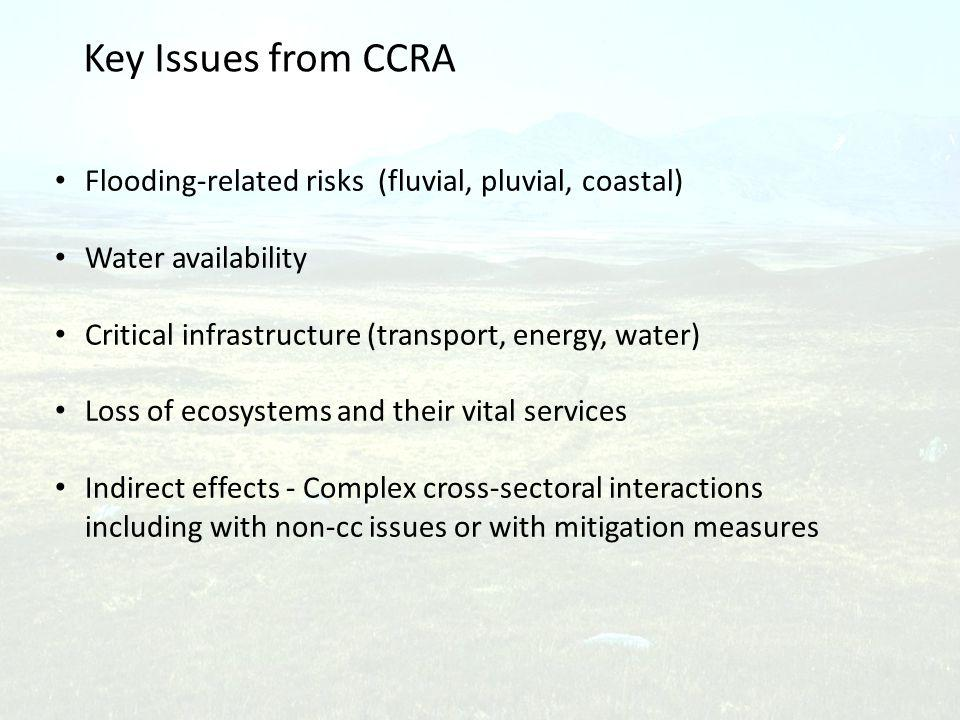 Key Issues from CCRA Flooding-related risks (fluvial, pluvial, coastal) Water availability Critical infrastructure (transport, energy, water) Loss of ecosystems and their vital services Indirect effects - Complex cross-sectoral interactions including with non-cc issues or with mitigation measures