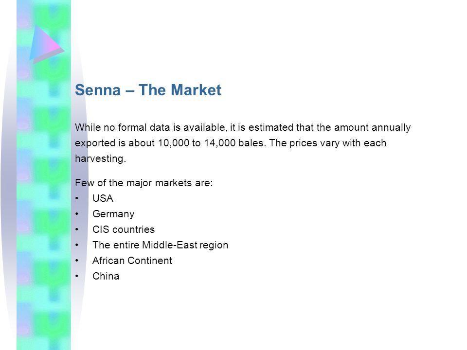 Senna – The Market While no formal data is available, it is estimated that the amount annually exported is about 10,000 to 14,000 bales.