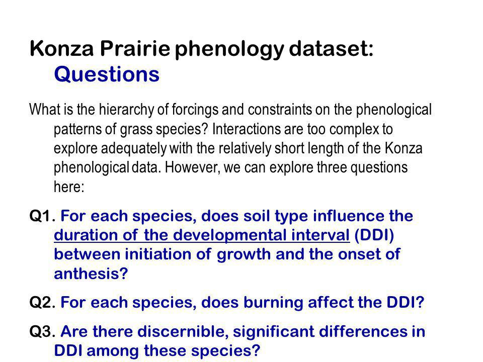 Konza Prairie phenology dataset: Questions What is the hierarchy of forcings and constraints on the phenological patterns of grass species? Interactio