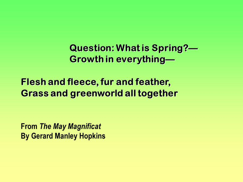 Question: What is Spring? Growth in everything Flesh and fleece, fur and feather, Grass and greenworld all together From The May Magnificat By Gerard