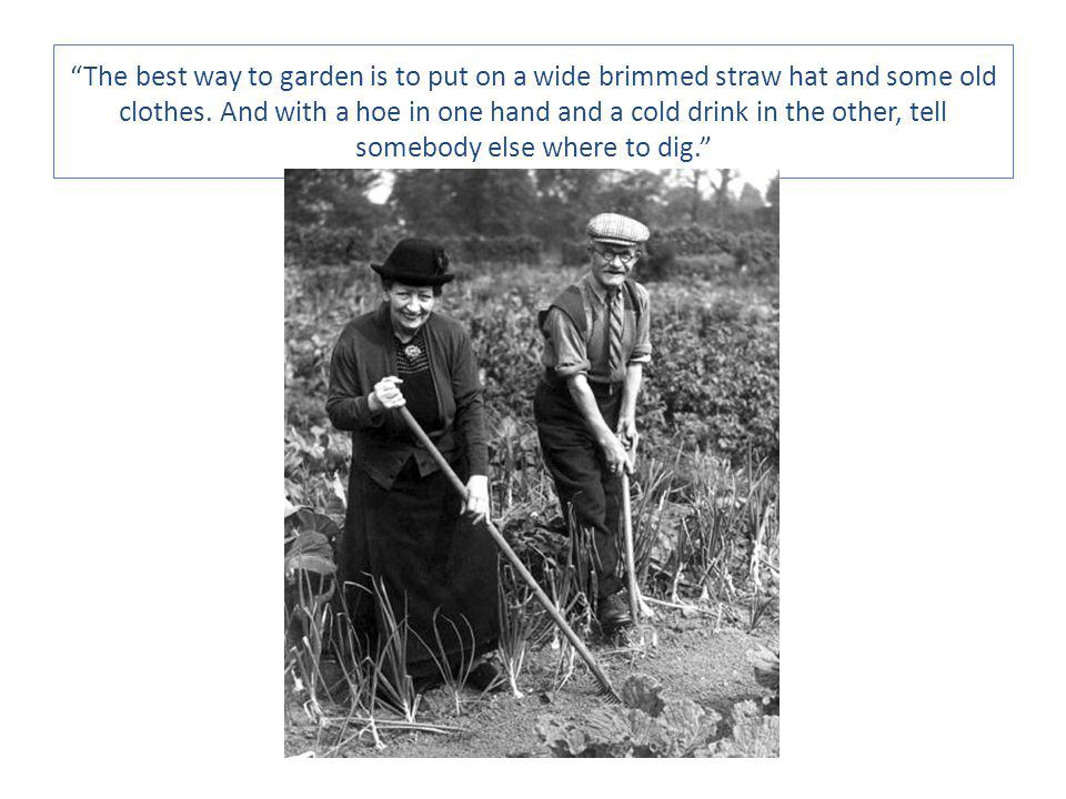 The best way to garden is to put on a wide brimmed straw hat and some old clothes.