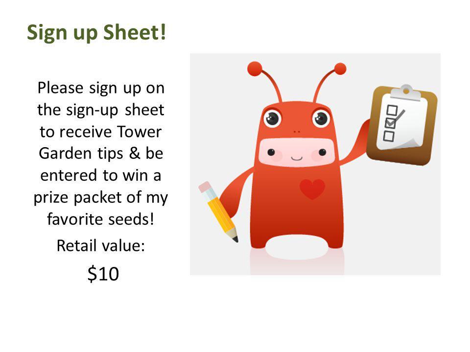 Sign up Sheet.