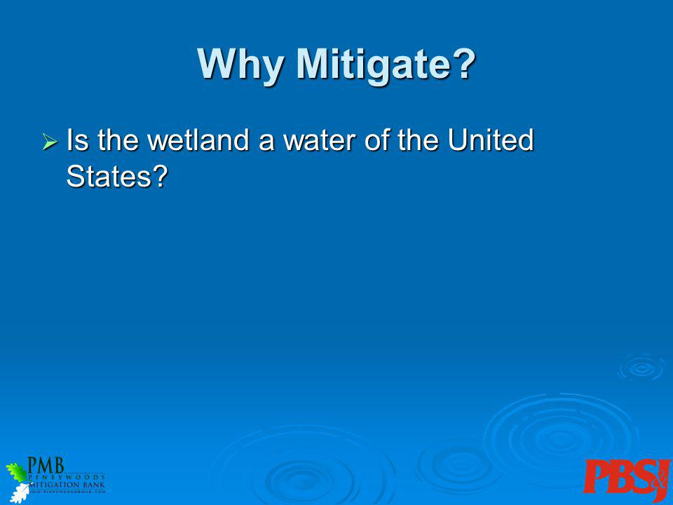 Why Mitigate. Is the wetland a water of the United States.