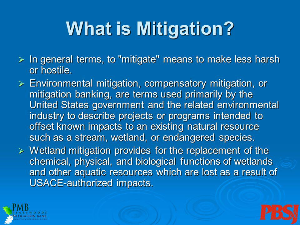 What is Mitigation? In general terms, to
