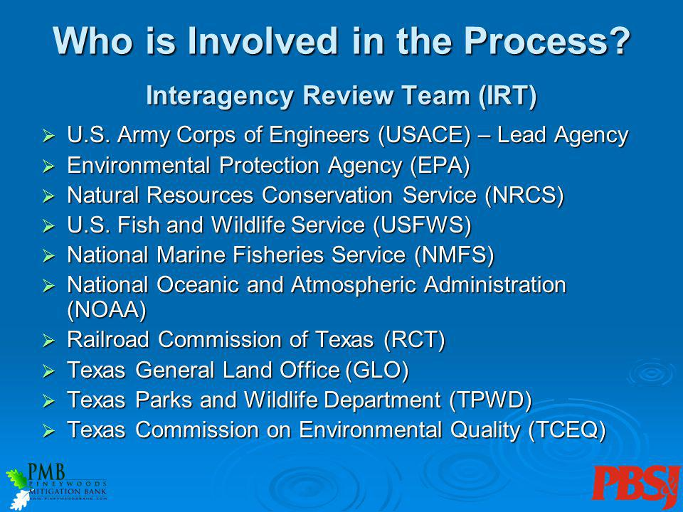 Who is Involved in the Process. Interagency Review Team (IRT) U.S.