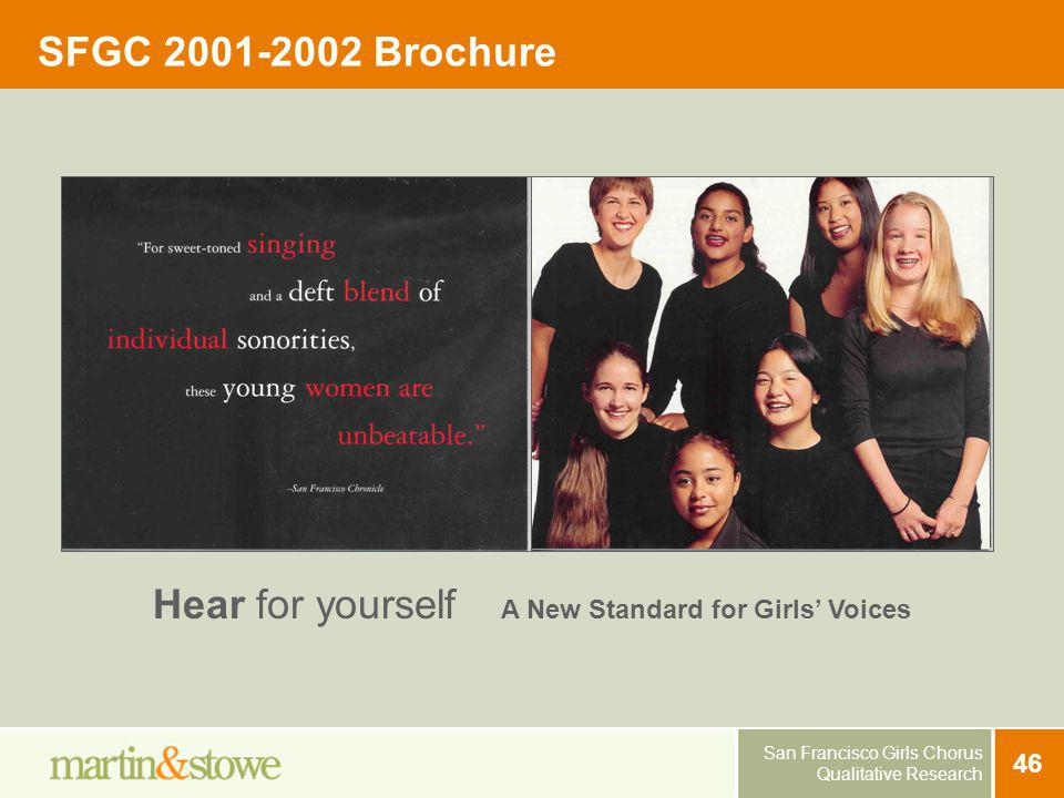 San Francisco Girls Chorus Qualitative Research 46 SFGC 2001-2002 Brochure Hear for yourself A New Standard for Girls Voices