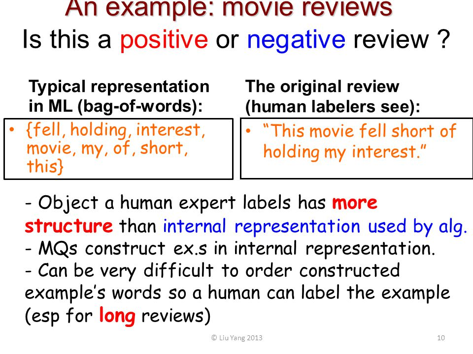 An example: movie reviews An example: movie reviews Is this a positive or negative review .
