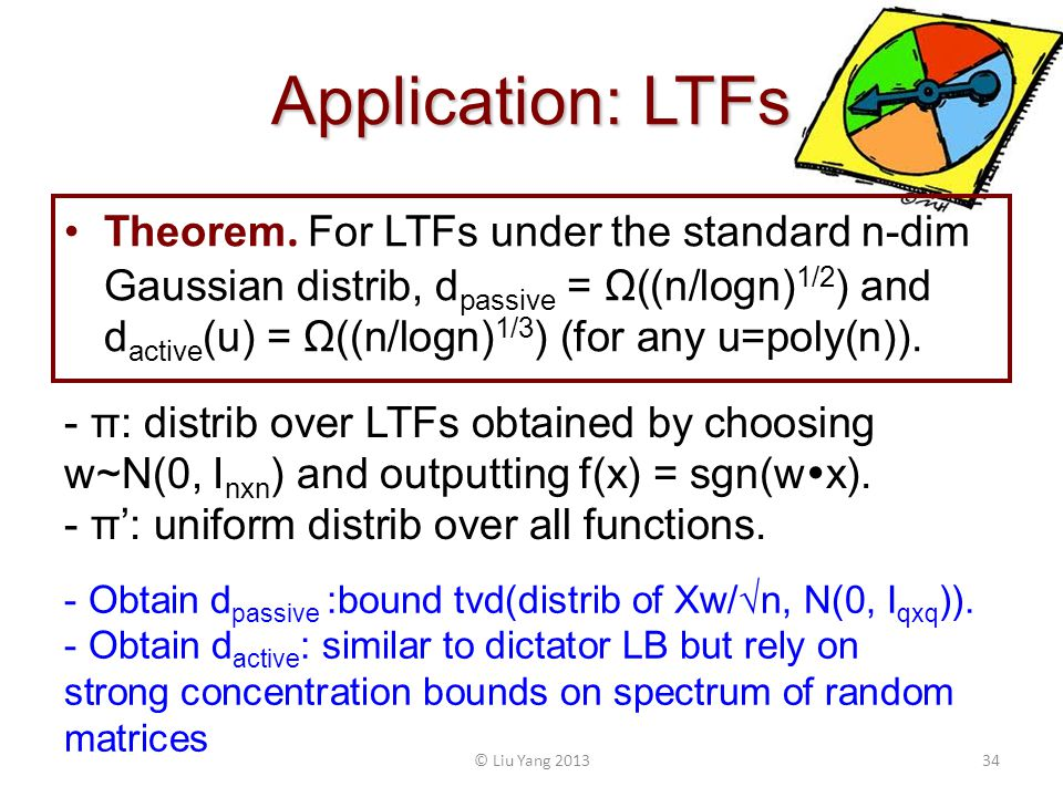 Application: LTFs Theorem. For LTFs under the standard n-dim Gaussian distrib, d passive = Ω((n/logn) 1/2 ) and d active (u) = Ω((n/logn) 1/3 ) (for a