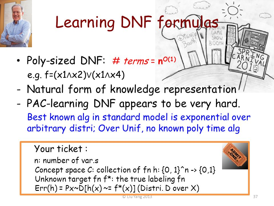 Learning DNF formulas Poly-sized DNF: # terms = n O(1) e.g.
