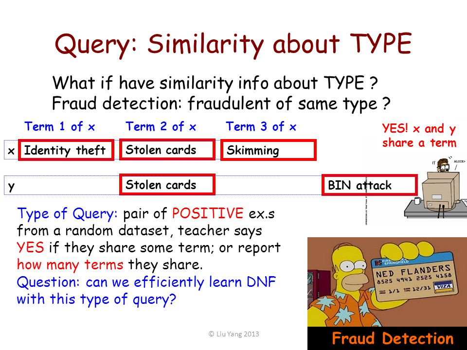 Query: Similarity about TYPE 39© Liu Yang 2013 Fraud Detection Type of Query: pair of POSITIVE ex.s from a random dataset, teacher says YES if they sh