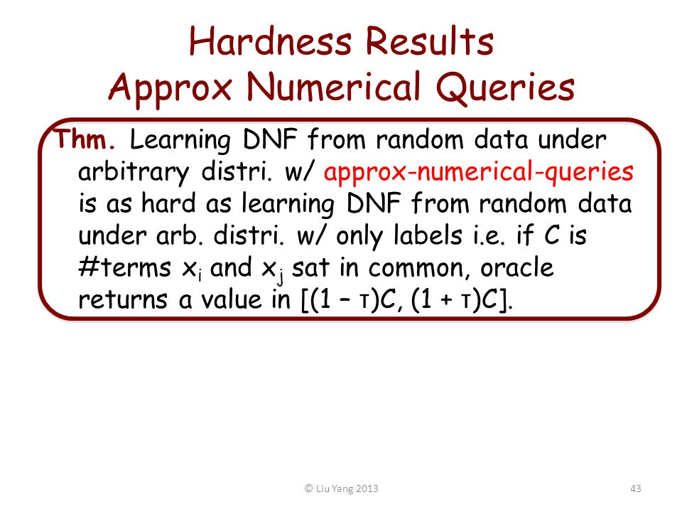 Hardness Results Approx Numerical Queries Thm.