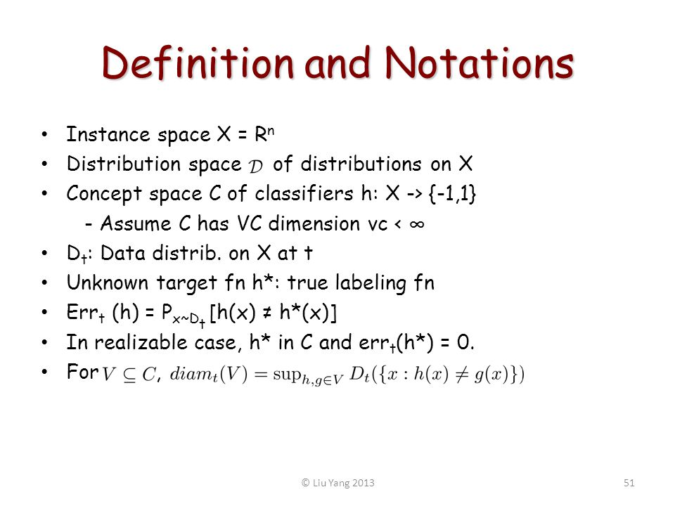 Definition and Notations Instance space X = R n Distribution space of distributions on X Concept space C of classifiers h: X -> {-1,1} - Assume C has VC dimension vc < D t : Data distrib.