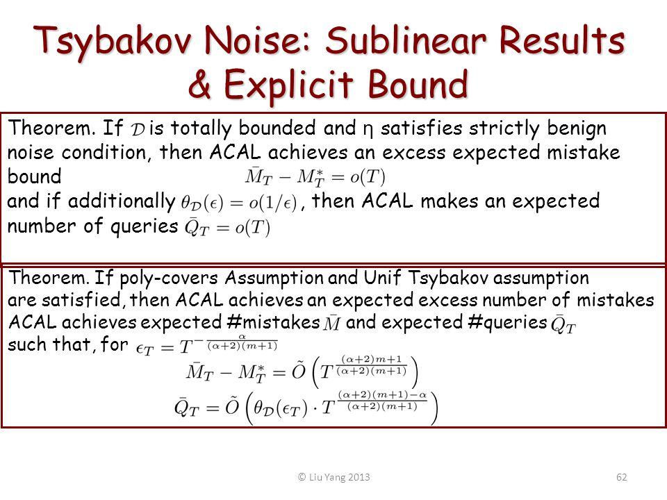 Tsybakov Noise: Sublinear Results & Explicit Bound Theorem. If is totally bounded and η satisfies strictly benign noise condition, then ACAL achieves