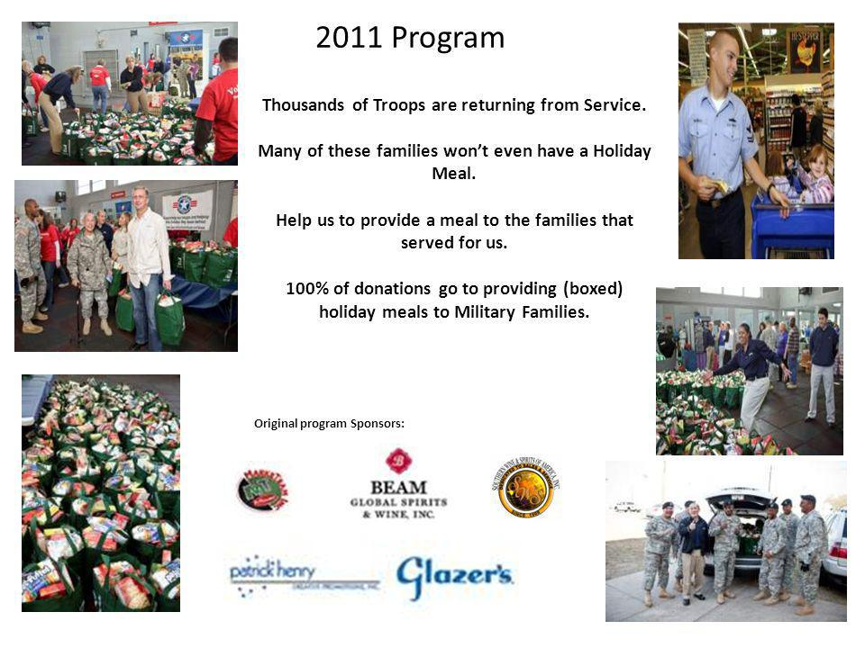 2011 Program Thousands of Troops are returning from Service. Many of these families wont even have a Holiday Meal. Help us to provide a meal to the fa