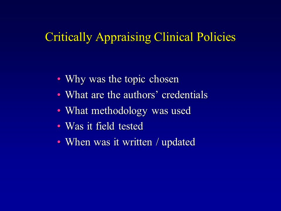 Informal Consensus Group of experts assembleGroup of experts assemble Global subjective judgementGlobal subjective judgement Recommendations not necessarily supported by scientific evidenceRecommendations not necessarily supported by scientific evidence Limited by biasLimited by bias