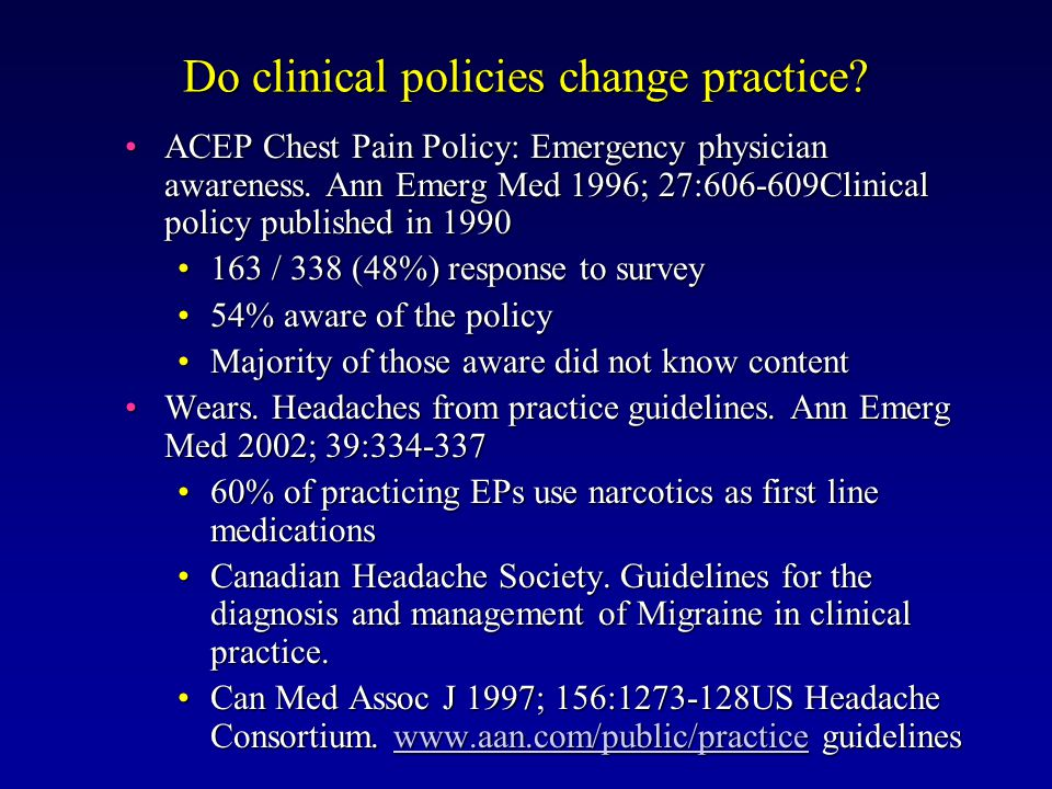 Do clinical policies change practice. ACEP Chest Pain Policy: Emergency physician awareness.
