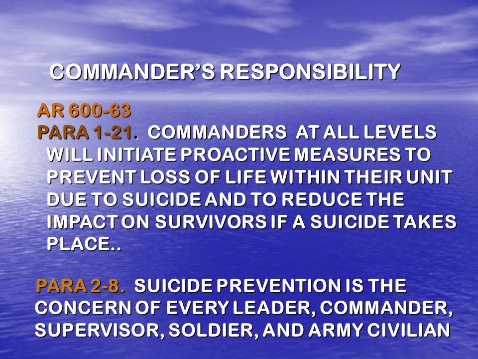 COMMANDERS RESPONSIBILITY AR 600-63 PARA 1-21.