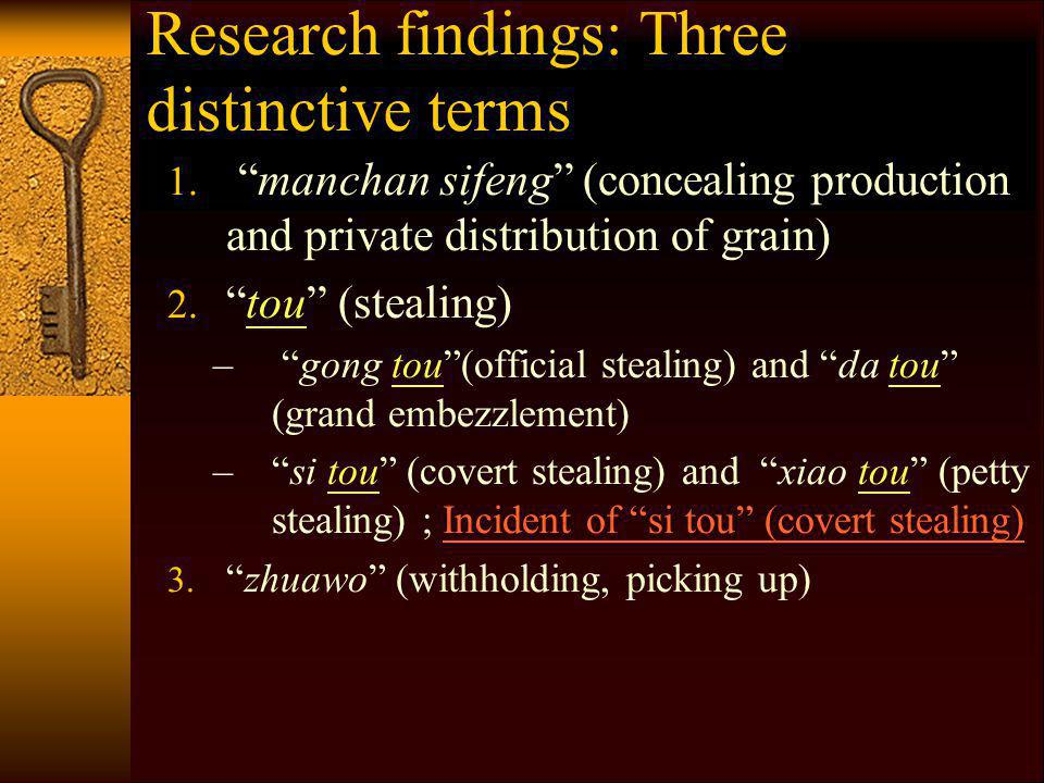 Research findings: Three distinctive terms 1.